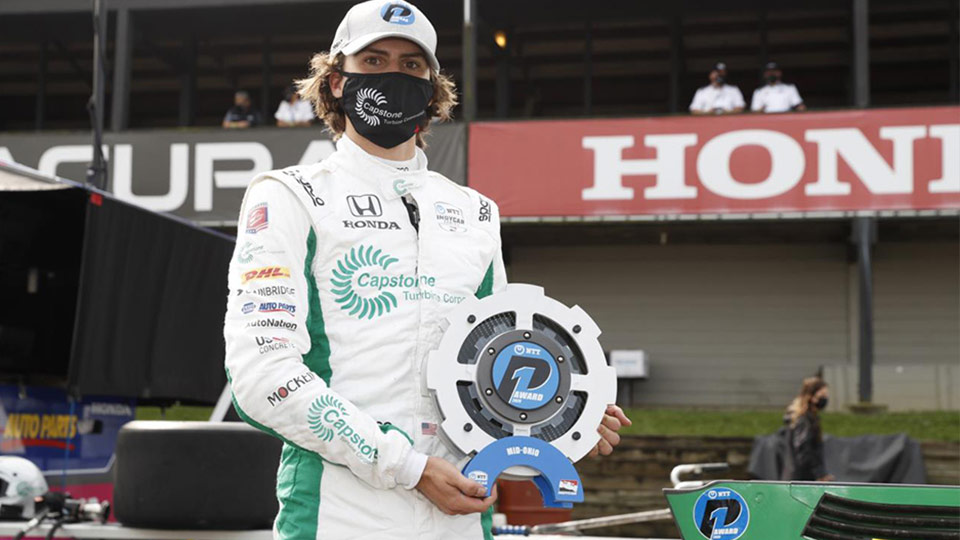 Colton Herta with the P1 award for Race 2 at Mid-Ohio