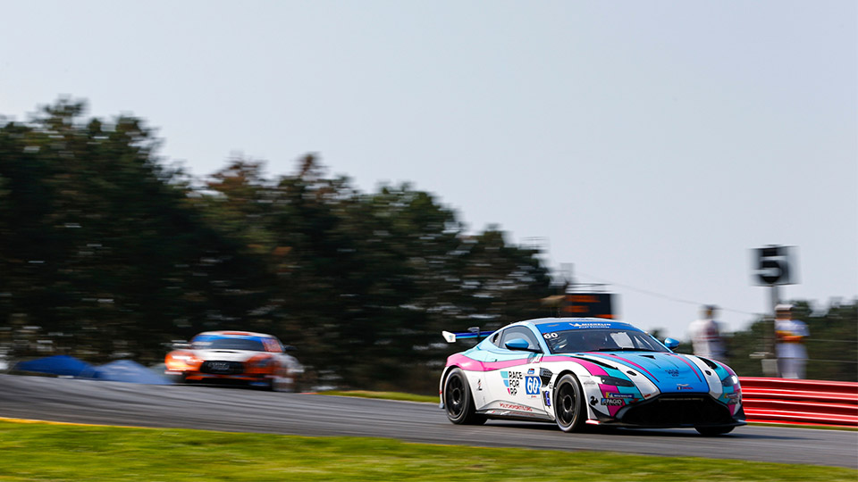 No. 60 Aston Martin Vantage GT4 on track at Mid-Ohio Sports Car Course