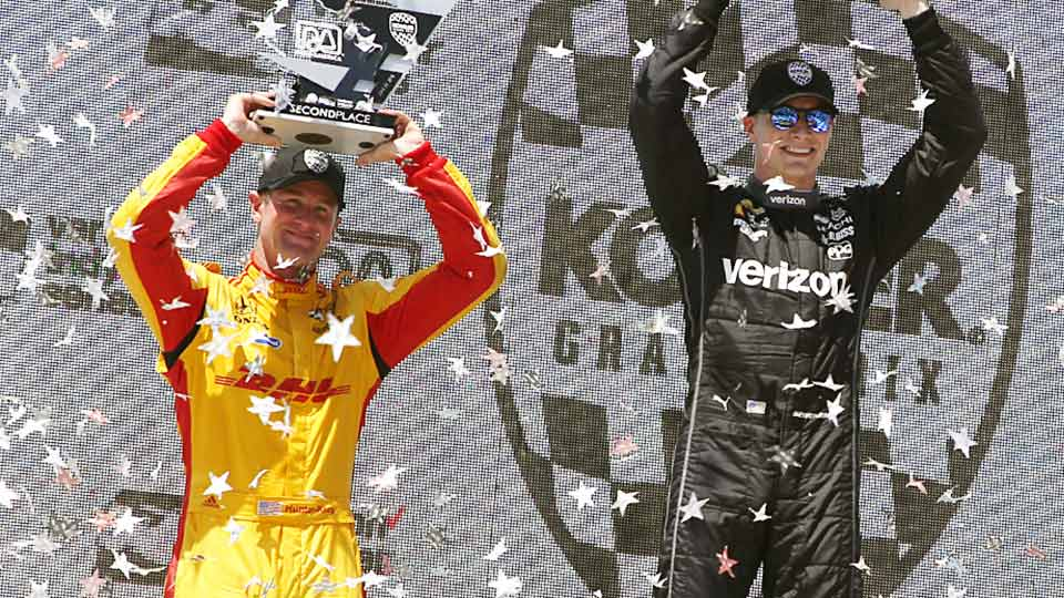 Ryan Hunter-Reay and Josef Newgarden on the podium