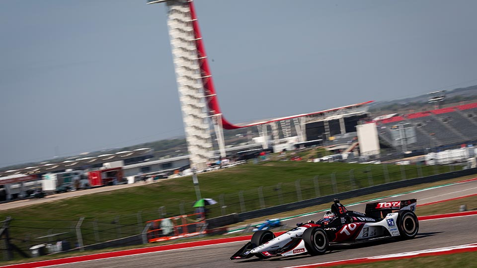 Graham Rahal practices on the Circuit of the Americas
