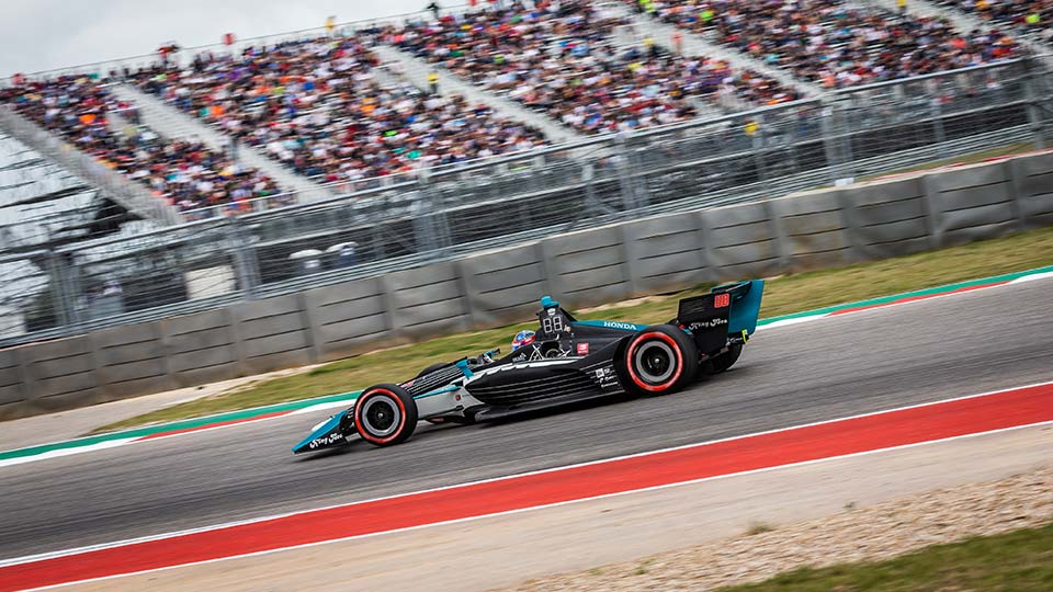 Colton Herta on track at the Circuit of the Americas