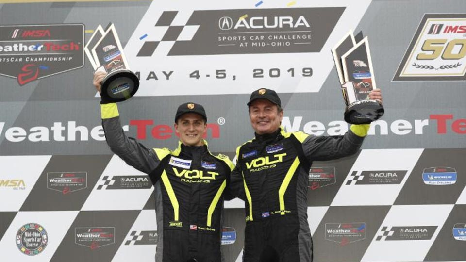 Brynjolfsson and Hindman on the Podium at the Mid-Ohio Sports Car Course