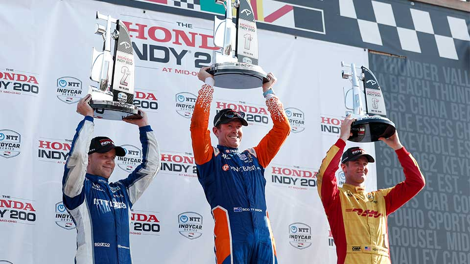 Scott Dixon, Felix Rosenqvist and Ryan Hunter-Reay on the podium at Mid-Ohio