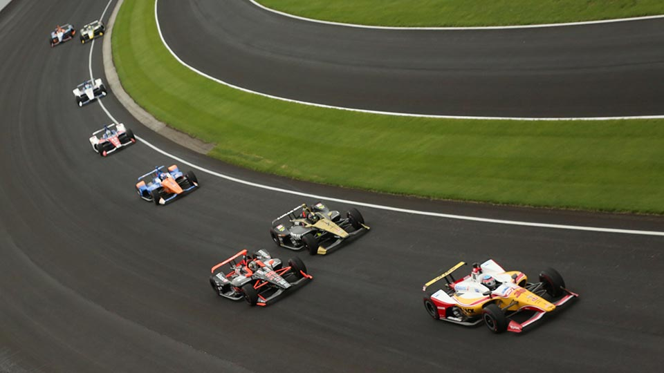 Indy cars on track