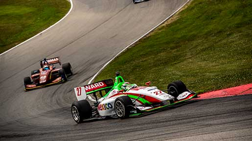 IndyLights cars race through Mid-Ohio Sports Car Course